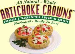 all natural whole artichoke crowns prepared & packed within 8 hours of harvest marinated ready to eat!